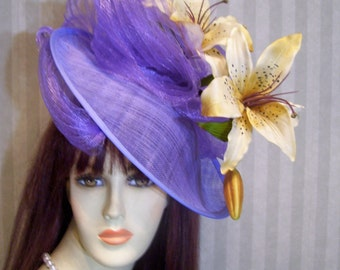 Kentucky Derby Fascinator Hat Lavender Dream Wedding Tea Party Hat Preakness Fascinator Belmont Stakes