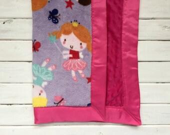 Satin Trim Lovie - Ballerina Fairies- Pink and Purple- Baby Blanket- Security Blanket