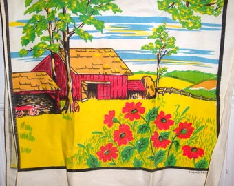 Vintage Dish Towel, Tea Towel, Kitchen Decor, Hand Printed, Farm Scene, Barn, Country Cottage, Flowers, Yellow and Red  (969-15)