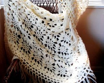 Boho vintage 70s white acrylic,  chunky  crochet, thick , triangle, large shawl with a long fringe.
