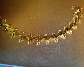 Modernist vintage 60s , 14k gold plated, inustrial links bracelet. Size 7 1/2