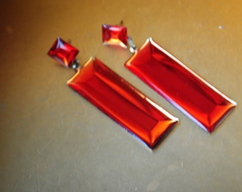 Mod vintage 50s red flame guilloche enamel long, rectangular, dangle  , pierced earrings with a german silver base.