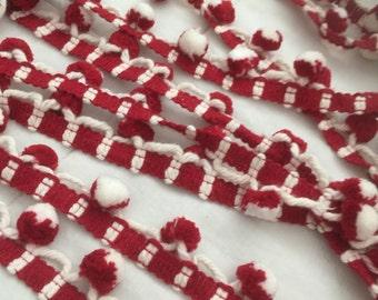 Vintage Pom Pom fringe Red and white. 7 1/2 yards