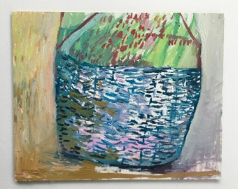 Blue Basket, original oil painting on canvas panel