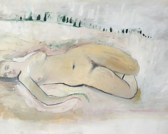 Reserved. Nude in the Snow, Original oil painting on arches paper