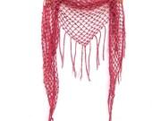 Crochet Fringe Shawl - Festival Clothing - Fringe Scarf - Triangle Lace Cover Up - Hip Sarong Wrap - Boho Triangle Shawl - Country Rose