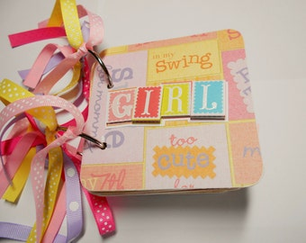 Baby Girl First Year, Baby Girl Mini Album, Baby girl scrapbook, Brag book, Baby Girl album, premade album, 4x4, chipboard album, baby girl