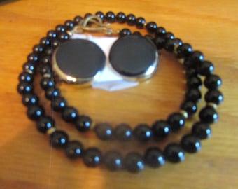 Back onyx necklace