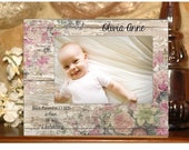 Newborn Baby Girl Photo Frame with Birth Statistics 4x6, 5x7