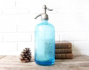 Vintage Blue Seltzer Bottle - Pin Up Logo - Jolen Home Service Sparkling Water - Brooklyn, NY New York - Cobalt Blue Glass - Flatbush Beer