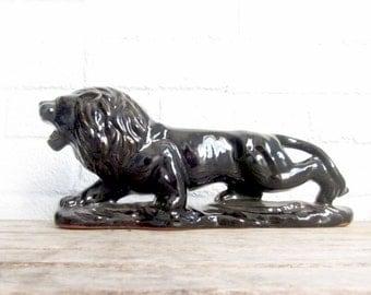 Vintage Black Ceramic Lion Figure - Ceramic Mid Century Sleek Cat Figurine - Glazed Pottery Cat Statue Green Gemstone Eyes
