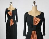 ON SALE 1960s Satin LBD . Black Wiggle Dress .