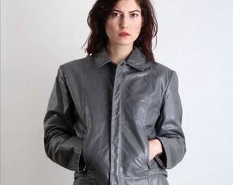 ON SALE 80s Leather Jacket .  Biker Coat GREY
