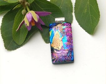 Fused dichroic glass pendant rectangle, pink, gold, blue, green