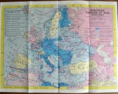 Pair Vintage Maps WWII European Theatre of War 1939 to 1945 and Far Eastern Theatre of War 1941 to 1945 C.S. Hammonds Campaign Maps