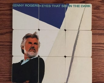 Kenny Rogers record bowl & handmade wood coasters created from the recycled Eyes that See in the Dark music album