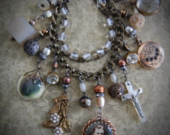 Victorian Sentiments-Antique Victorian Charm Assemblage Necklace