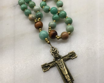 Amazonite and Wood Anglican Rosary  Protestant Prayer Beads. Blue Rosary. Episcopal Rosary. Episcopal Rosary.  Wedding Rosary