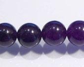 Amethyst Purple Jade Smooth Round Gemstone Beads.....8mm....8 Beads