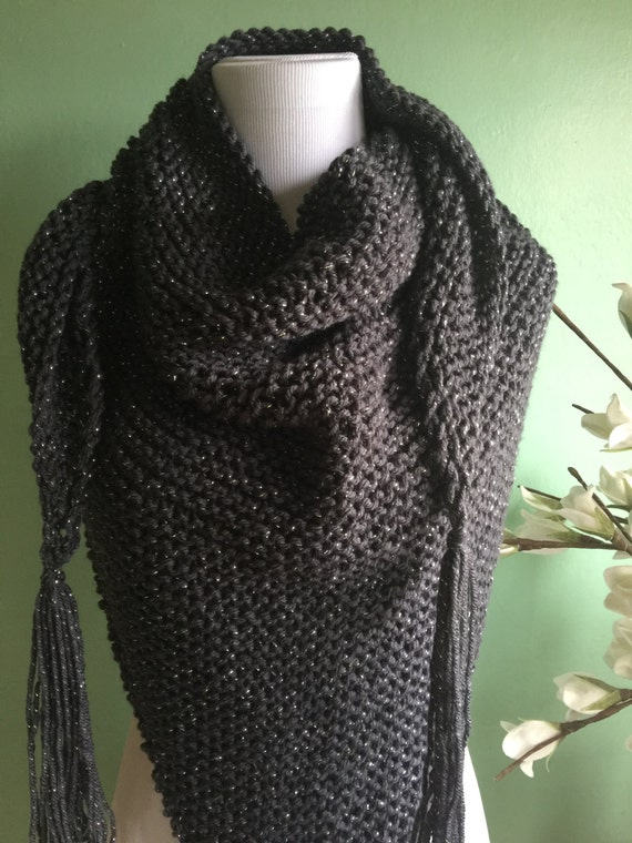 Outlander Inspired Hand Knit Claire's Shawl Charcoal Grey with Silver Sparkles