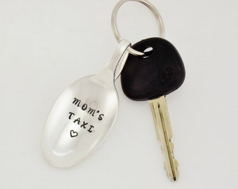 Custom Hand Stamped Spoon Key Chain Silverware Keychain Fun Flatware Key Chain Utensil Key Holder Unique Under 20 Mom's Taxi Key Chain Gift
