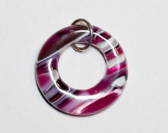 Pink striped fused glass donut pendant - 214