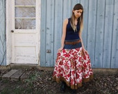 Medium Repurposed Bohemian Denim Floral Festival Skirt// Upcycled Recycled// Belt Included// emmevielle