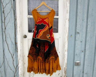 Med. Ethnic Tribal Bohemian Upcycled Long Dress// Hot Mustard Yellow Red Black// emmevielle