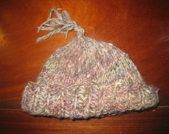 Knit Hat for Small Adult or Child, Handpainted Wool Hat, Handspun Alpaca Hat, Hand Dyed Silk Noil Hat, Very Comfy Knit Hat, Unique Warm Hat