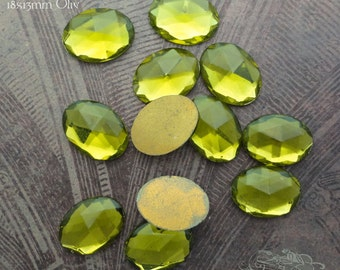 Vintage Cabochons - 13x18 mm Olive Green West German Faceted Glass Stones