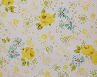 1960's Vintage Wallpaper Yellow Roses and Blue Green Flowers