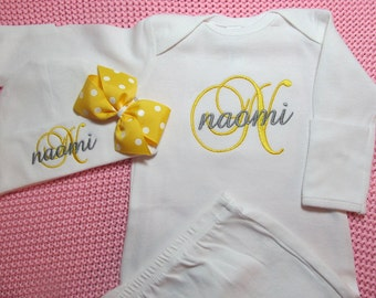 Baby Girl Take Home Outfit Gown with Mitten Cuffs, Hat with Bow Clip Embroidered Monogram Newborn Girl Gift Coming Home Clothing Yellow Gray