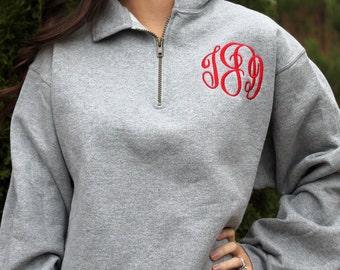 SALE Monogrammed Women's 1/4 Zip Sweatshirt, Monogrammed pullover sweatshirt, Monogram Sweatshirt, Preppy Pullover, Monogram quarter zip,