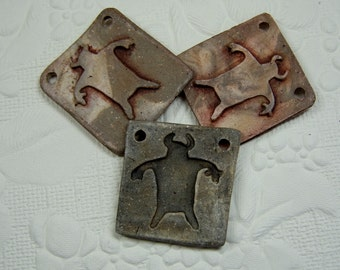 "Handmade Southwest Tatanka Wicasa ""Buffalo Man"" Reversible Pendant of Scroddled Stoneware Clay, Terra Sigillata Accents"