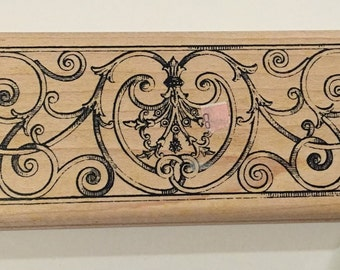 Fretwork Wood Mount Rubber Stamp
