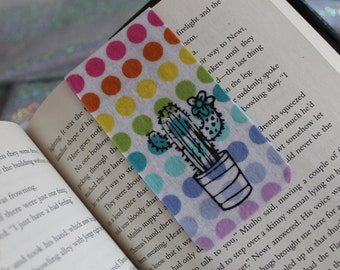 Cactus Rainbow Polka Dot Magnetic Bookmark, Colorful Fabric Bookmark