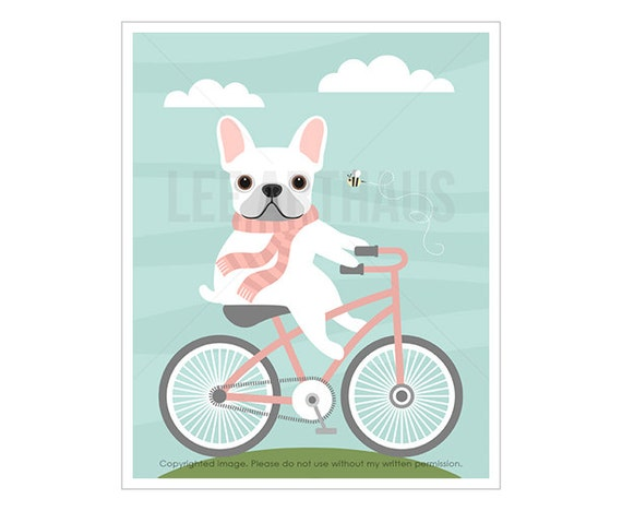 31F French Bulldog Print - White French Bulldog on Pink Bicycle Wall Art - Pink and Gray Dog Nursery Print - Baby Girl Room Art - Dog Art