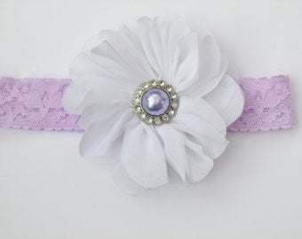 Lavender Lace Elastic Headband w/ White Double Ruffle Hair Flower and Jewel Center - baby girl toddler 18 months - age 5