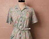 Vintage 1960' Blue Pink Floral House Dress L