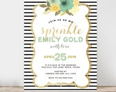 Floral and gold Baby Shower Invitation, Black and White Stripes Baby Shower Invitation, Baby sprinkle invitation,  Printable Invitation