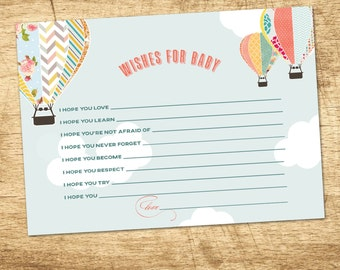 Baby Shower Wishes for Baby, Hot Air Balloon Baby Shower Invitation Game, Up and Up Away Hot Air Balloon