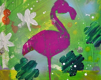"Beverly Hills Flamingo- Original Mixed Media Painting, 11"" x 14"""