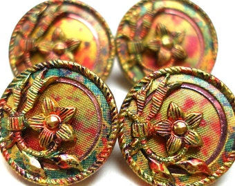 1900s Antique BUTTONS, 4 Edwardian flowers with green, red & gold. MINT, unused.