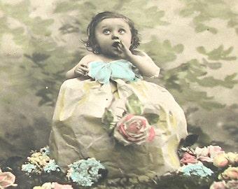 1920s French postcard, Baby in a nest, RPPC paper ephemera.