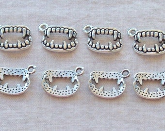 Tibetan Silver Vampire Fang Charms - 15 x 11 mm - Sets of 8