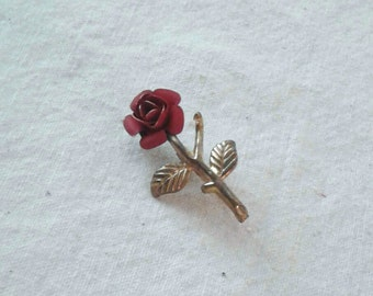 Vintage Red Rose and Gold Tone Brooch