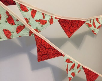Holiday Flag Bunting, Flag Penant - 6 feet of flags- Winter Cardinal- sustainable decor