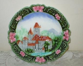 Majolica Plate Castle Scene Shabby Vintage Chic