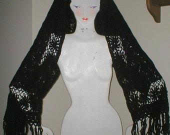 Vintage Scarf Wool Black Knit BOHO gypsy SHAWL Wrap 1960s Midcentury