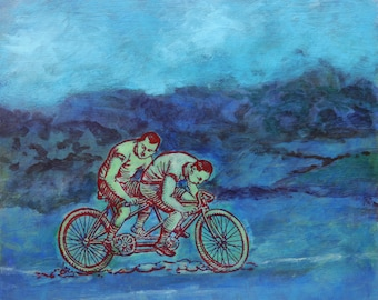 Bicycling Uphill - original fine art painting by Irene Stapleford - wantknot shop